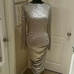 Vincent Camuto Sezy Gold Black  Lame Dress sz 14